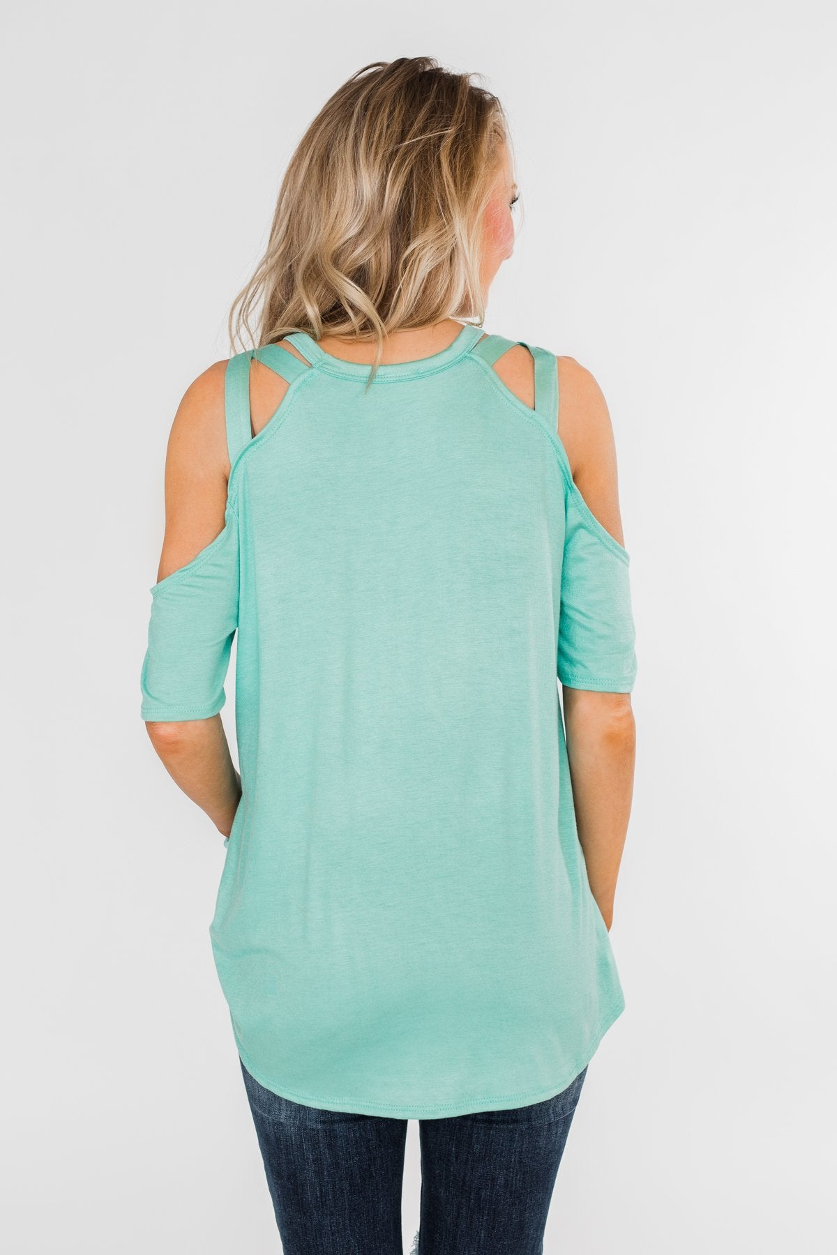 Feeling Alive Cold Shoulder Top- Aqua