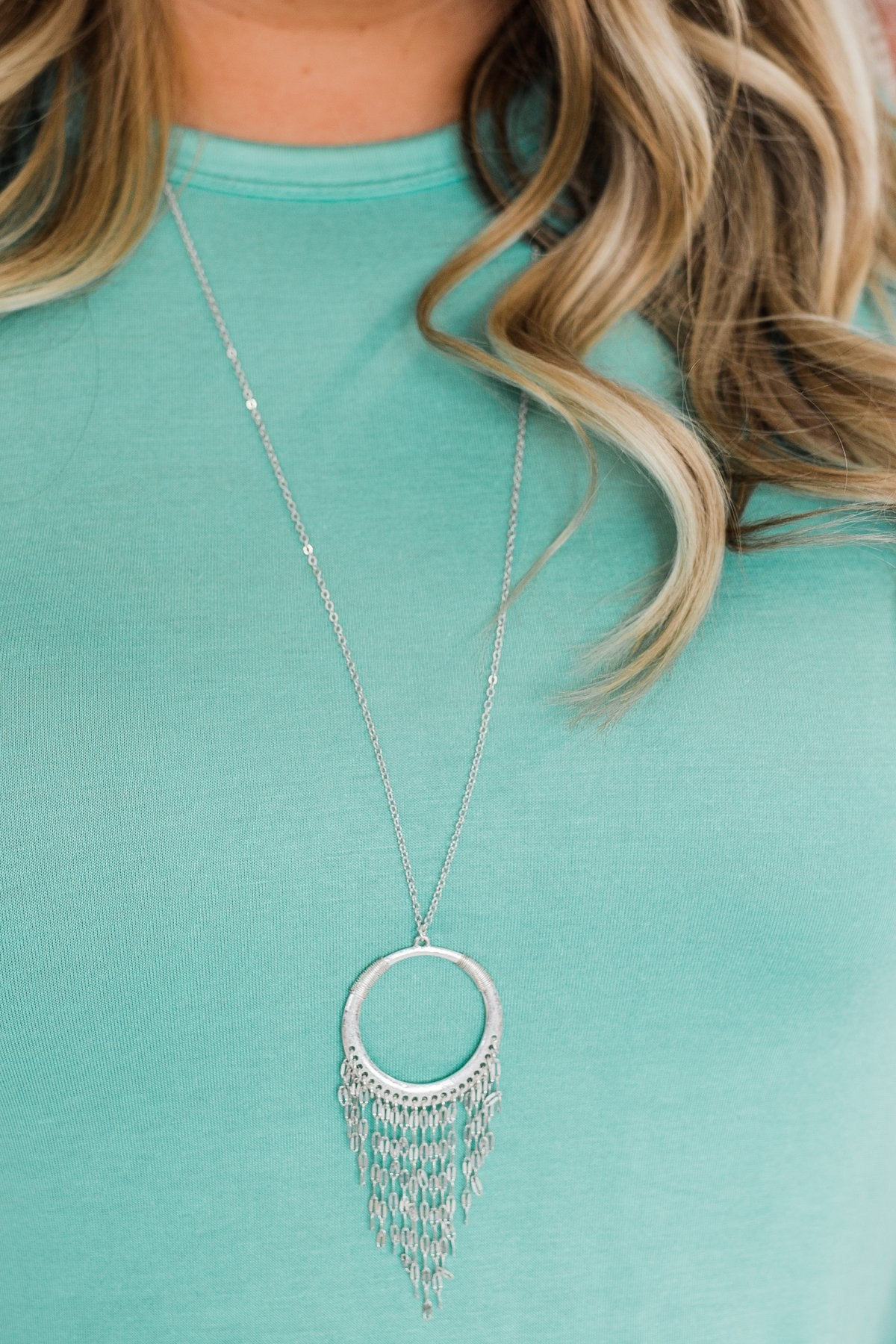 Fringed Circle Necklace- Silver