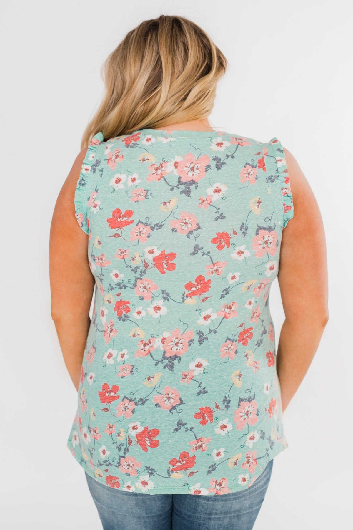 Sunny Day Picnic Ruffle Floral Top- Light Blue