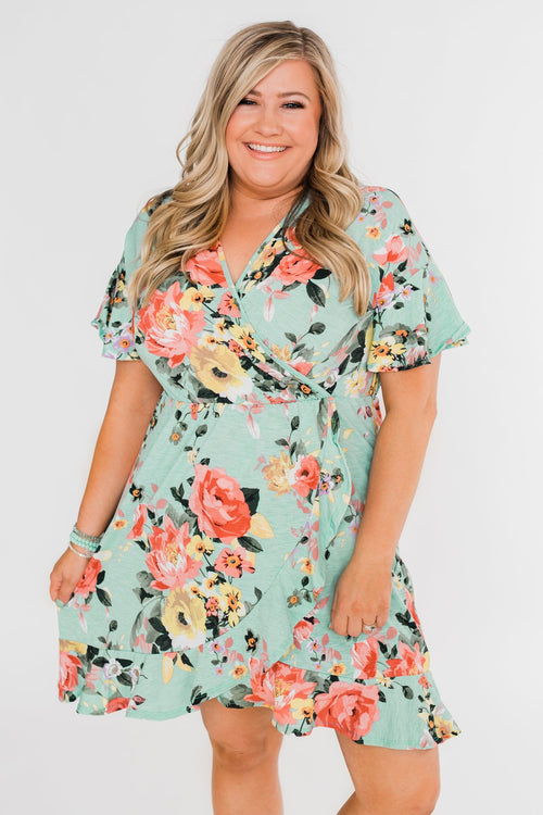 Time To Twirl Floral Ruffle & Wrap Dress- Blue