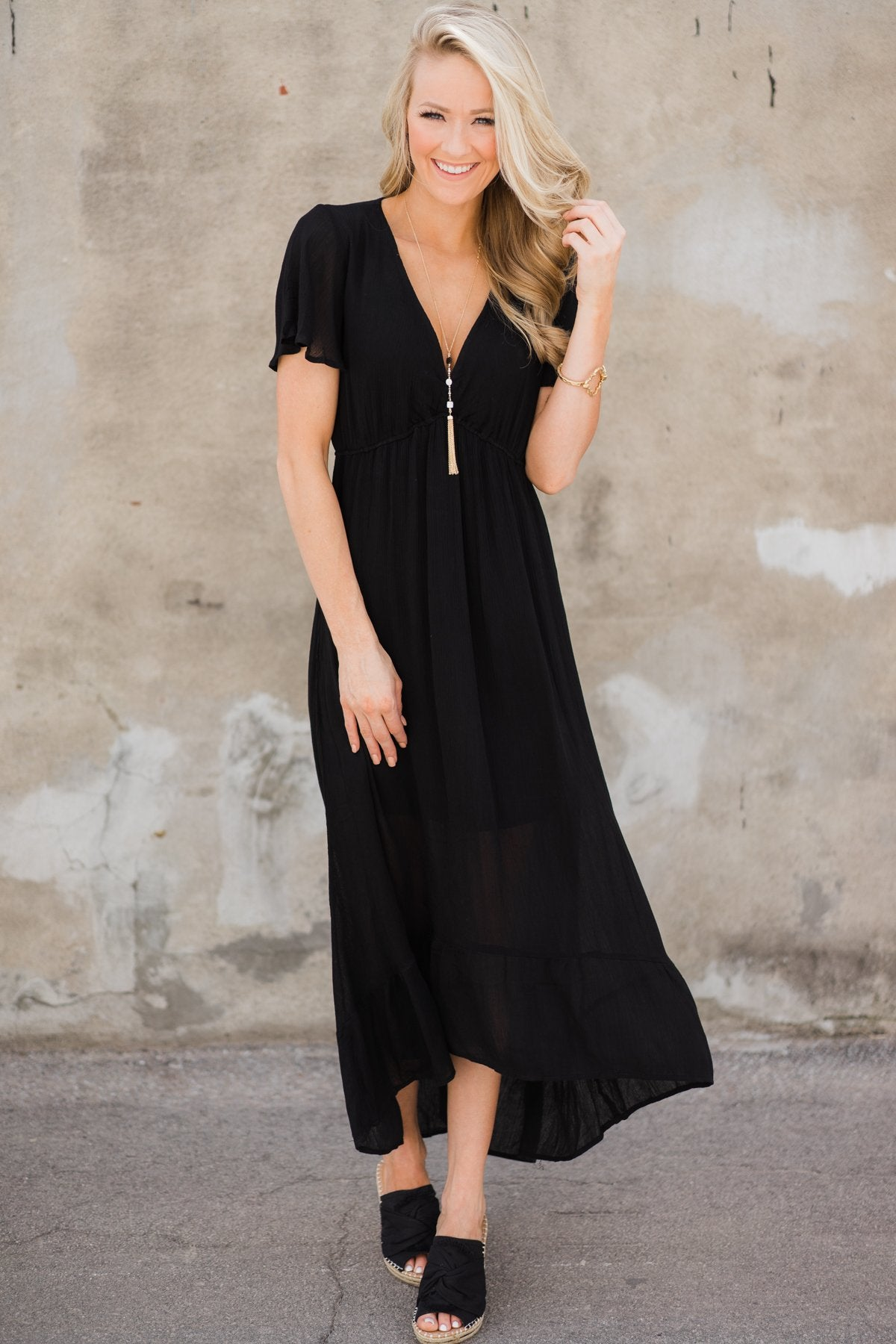 Hold Me Tight Hi-Lo Dress- Black