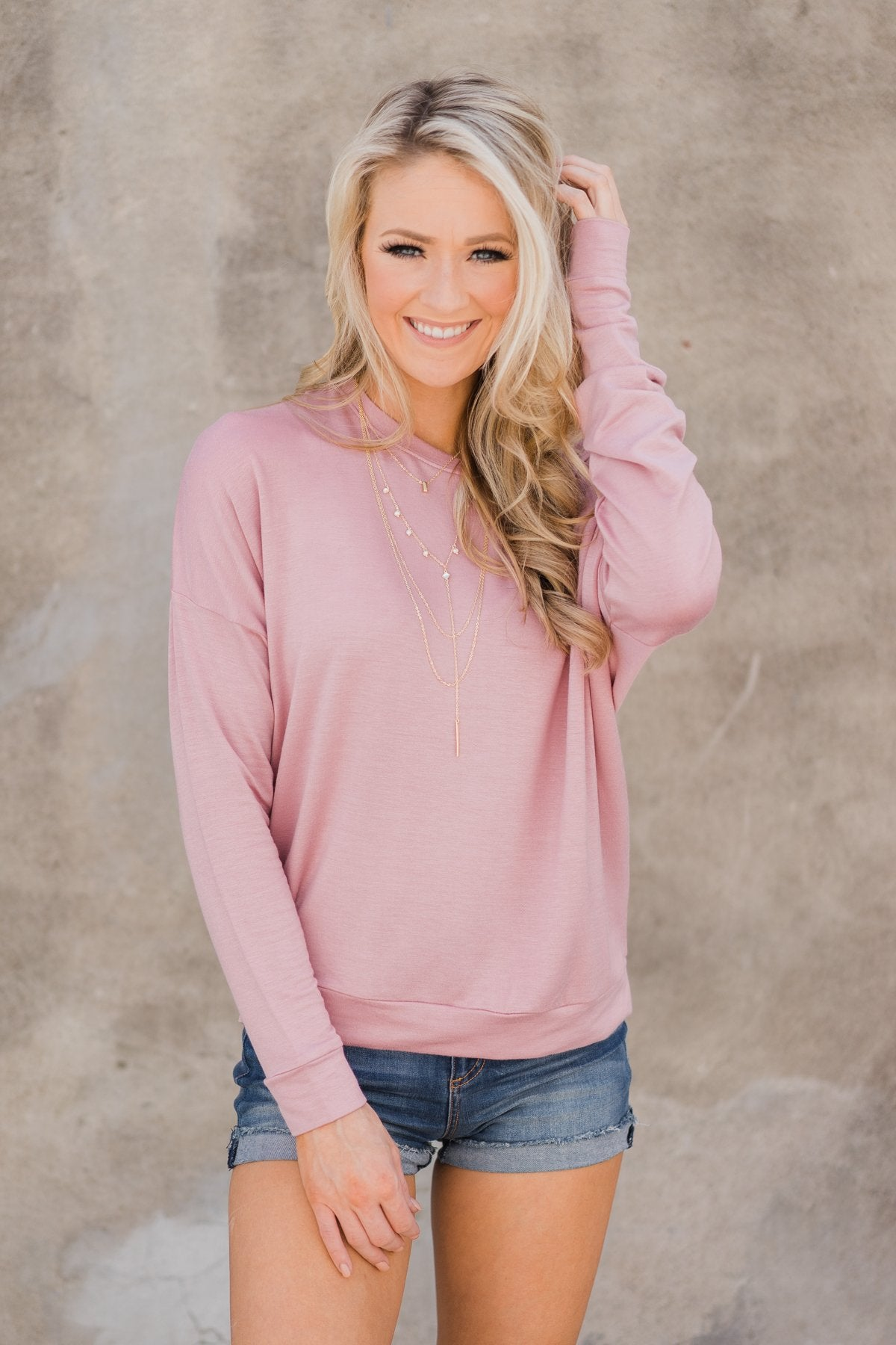 Summer Nights Long Sleeve Top- Dusty Pink
