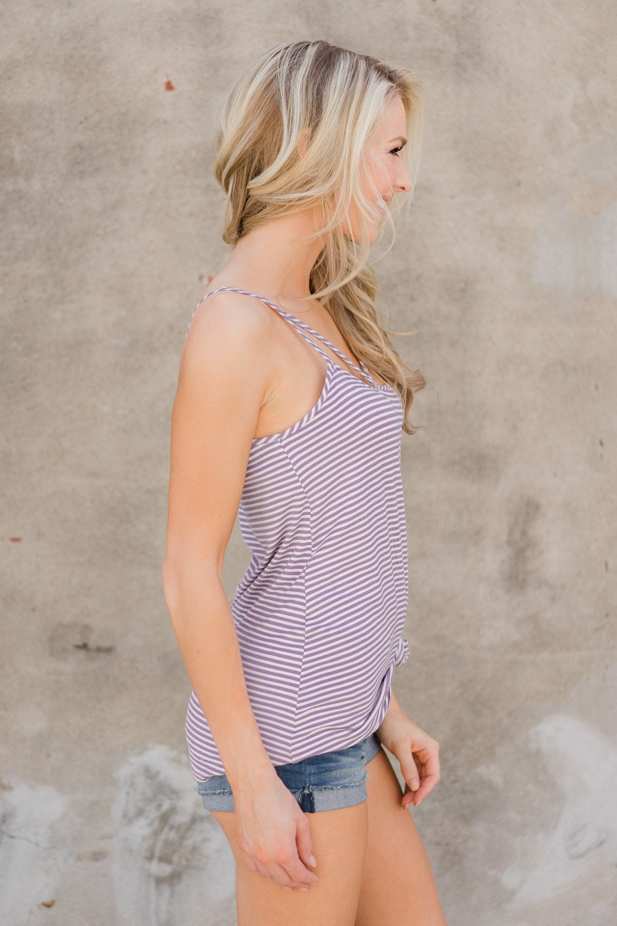 Lost In Love Striped Tank Top - Purple
