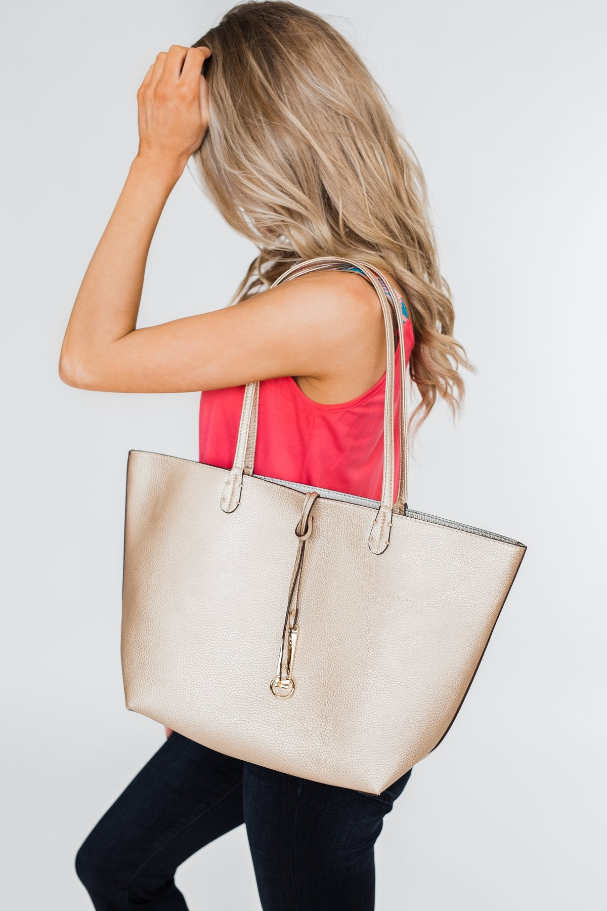 Reversible Tote- Gold/Silver