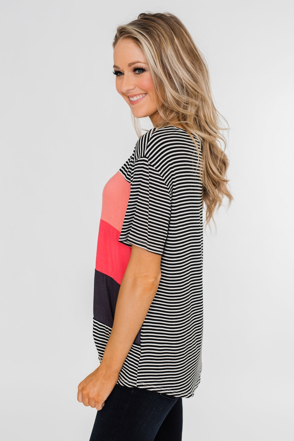 One Day At A Time Striped Color Block Top- Black, Pink, Navy