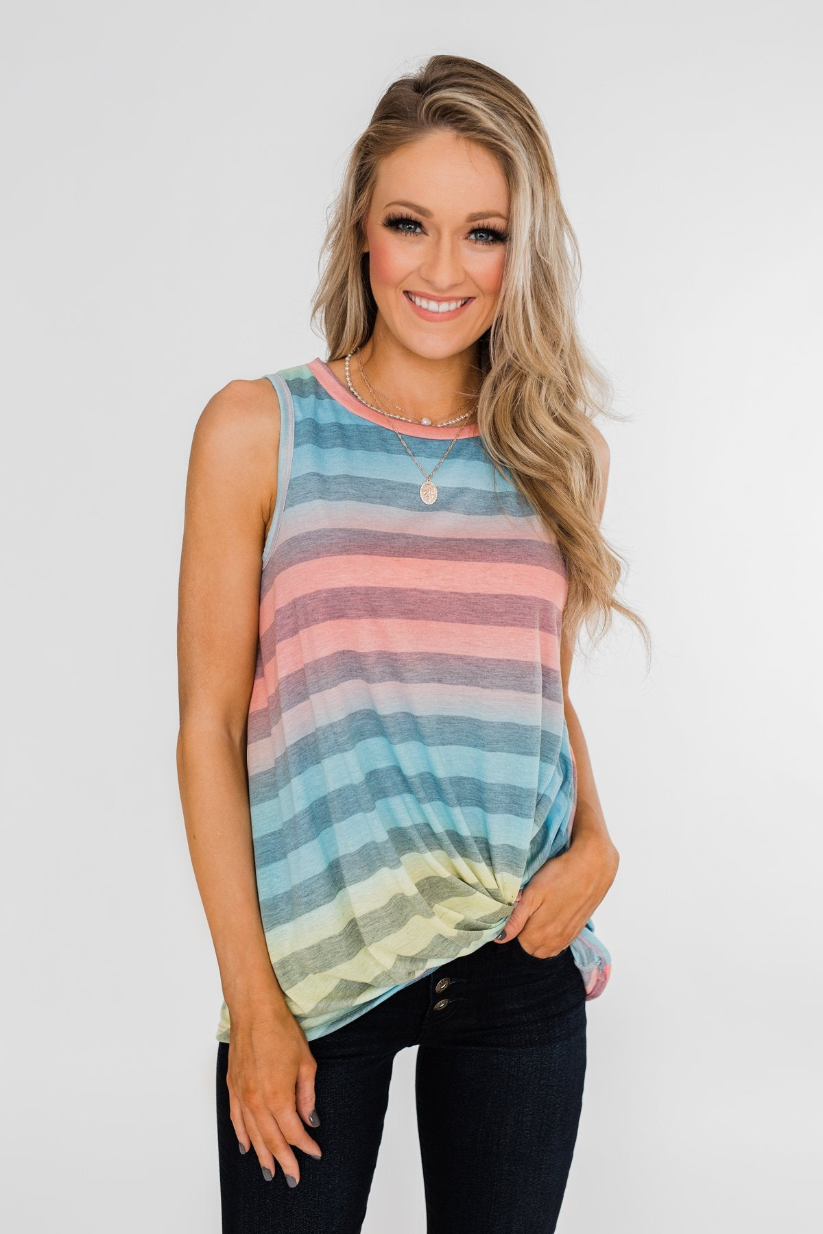 Together With You Striped Twist Top-  Multi-Colored