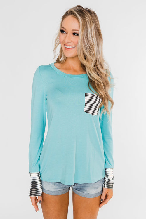 Special to Me Striped Detail Long Sleeve Top- Blue