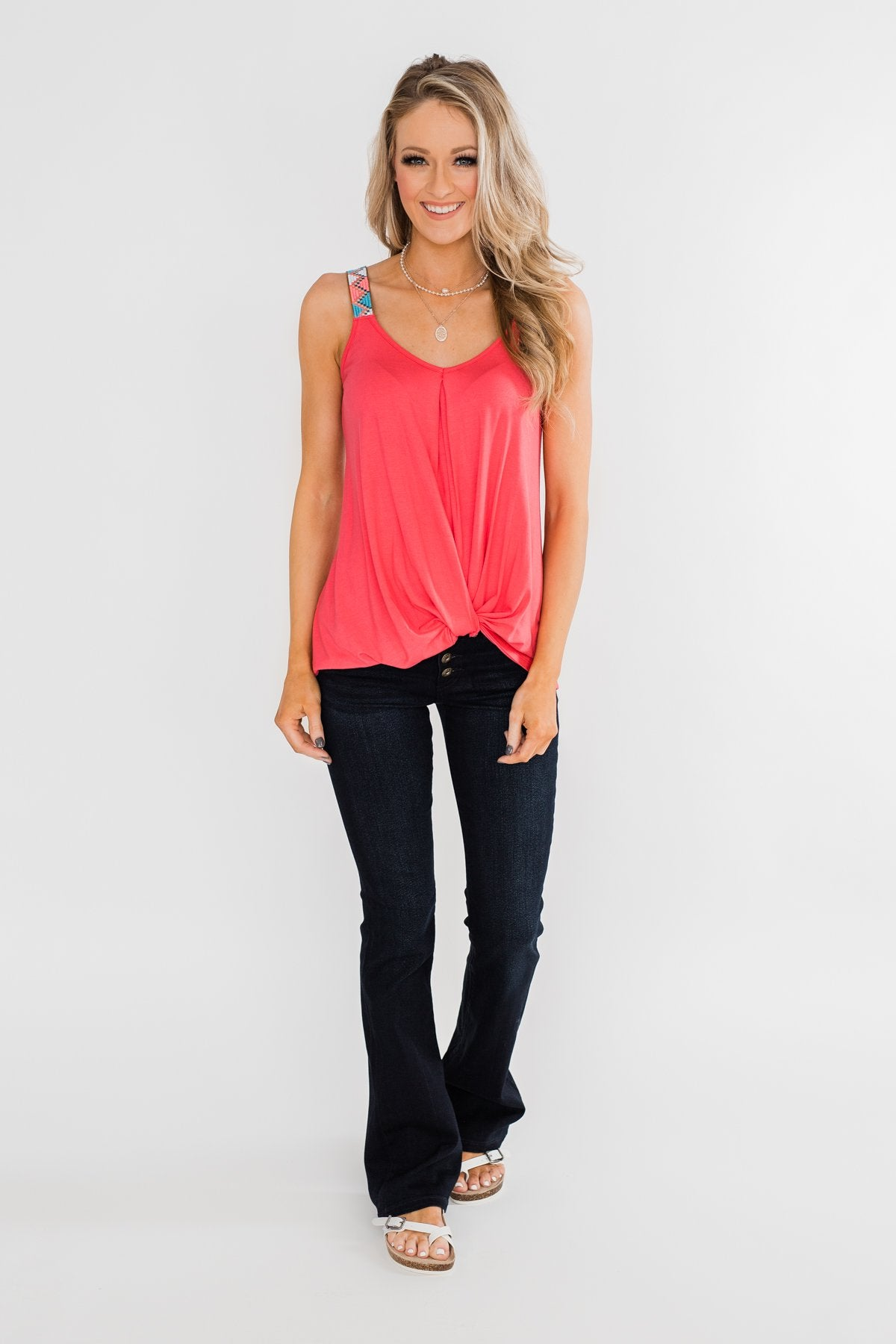Somewhere Waiting for Me Twist Tank Top- Punch Pink
