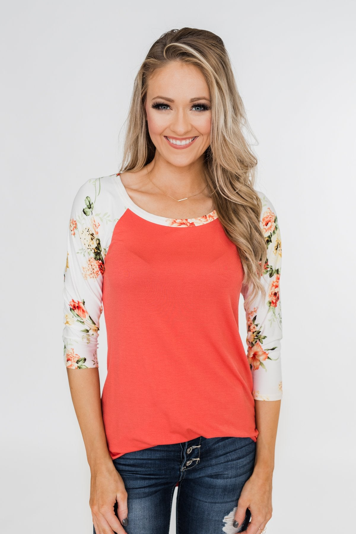 More To Give Floral 3/4 Sleeve Top- Dark Coral