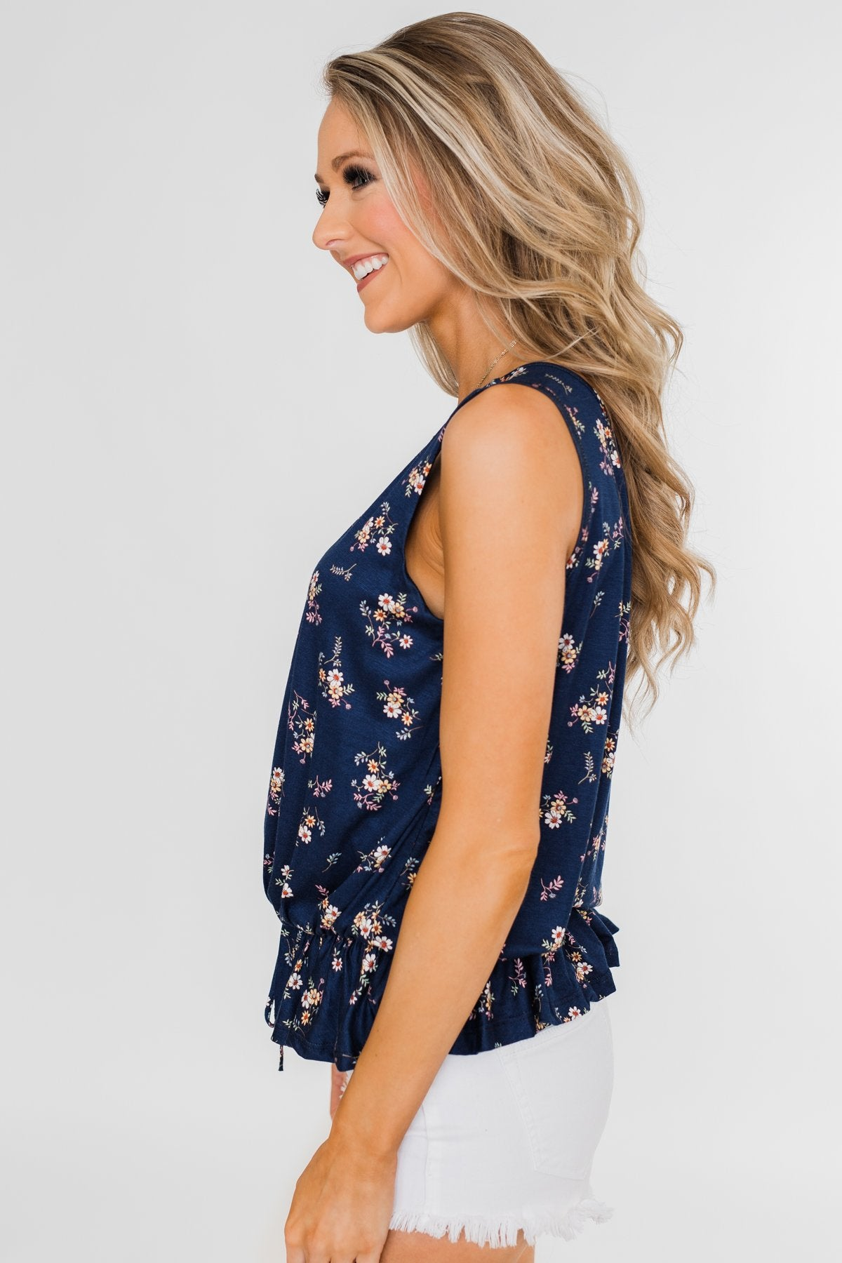 Belong With You Cinch Waist Floral Tank Top- Navy