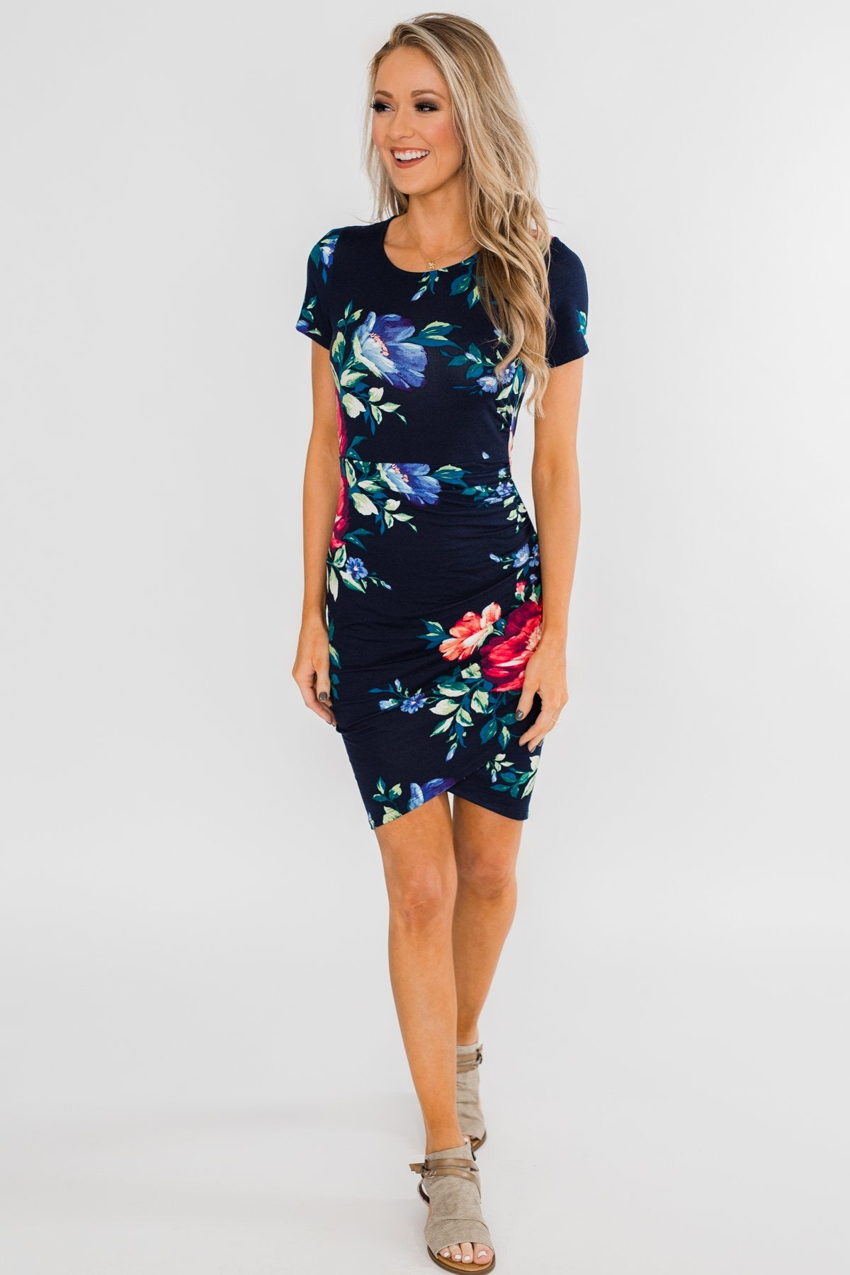 Fairy Tale Ending Floral Dress- Navy