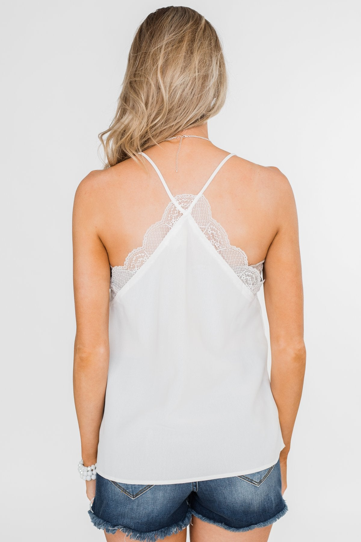 Comes Naturally Lace Racerback Cami- White