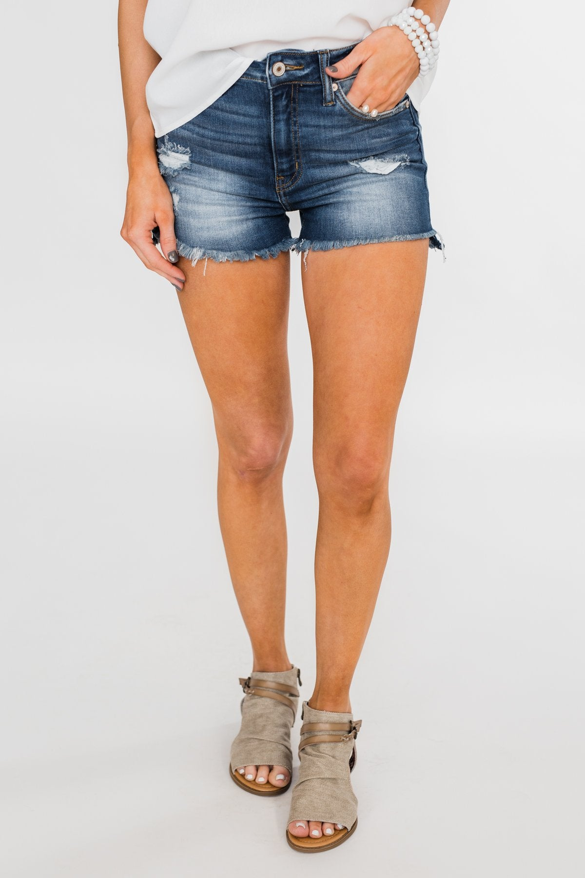 KanCan Distressed Shorts- Hazel Wash