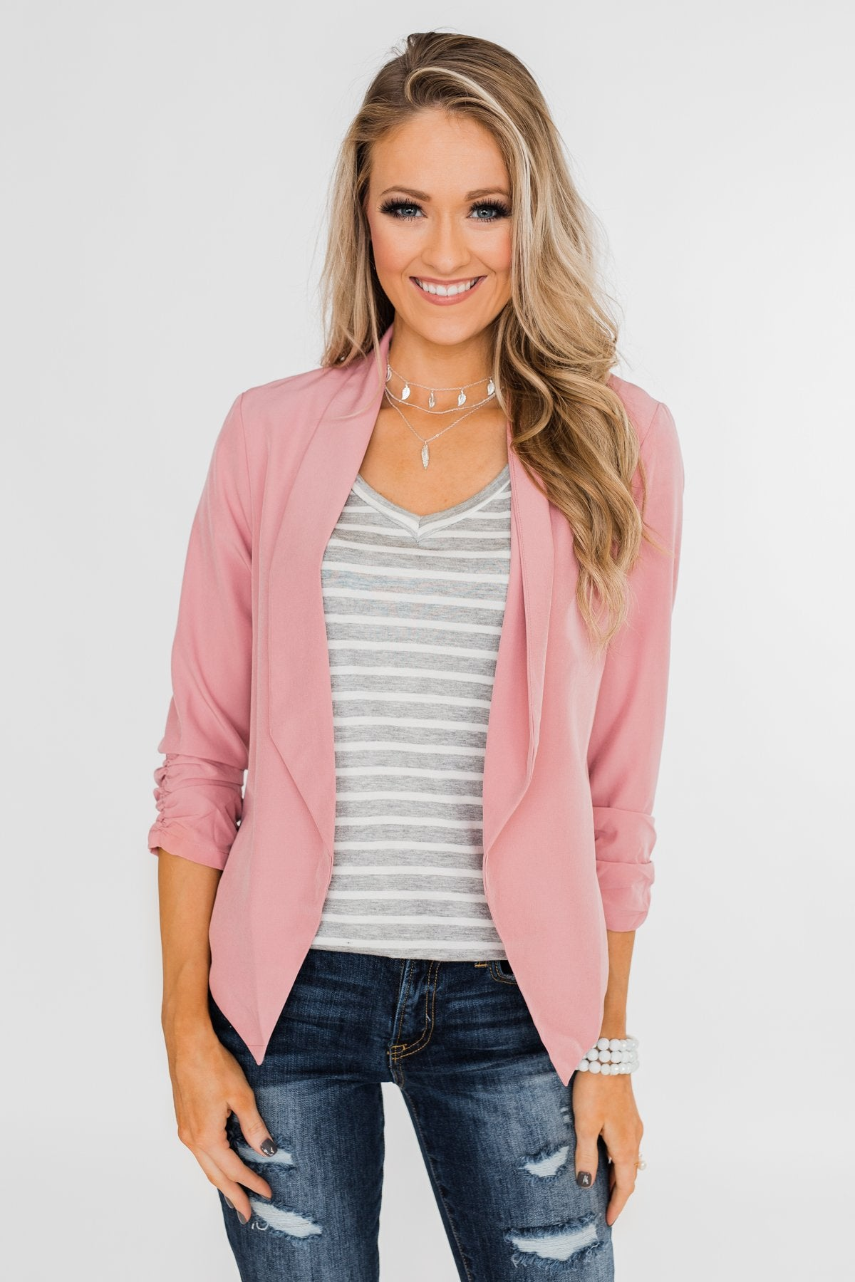 Keep It Professional Blazer- Light Pink