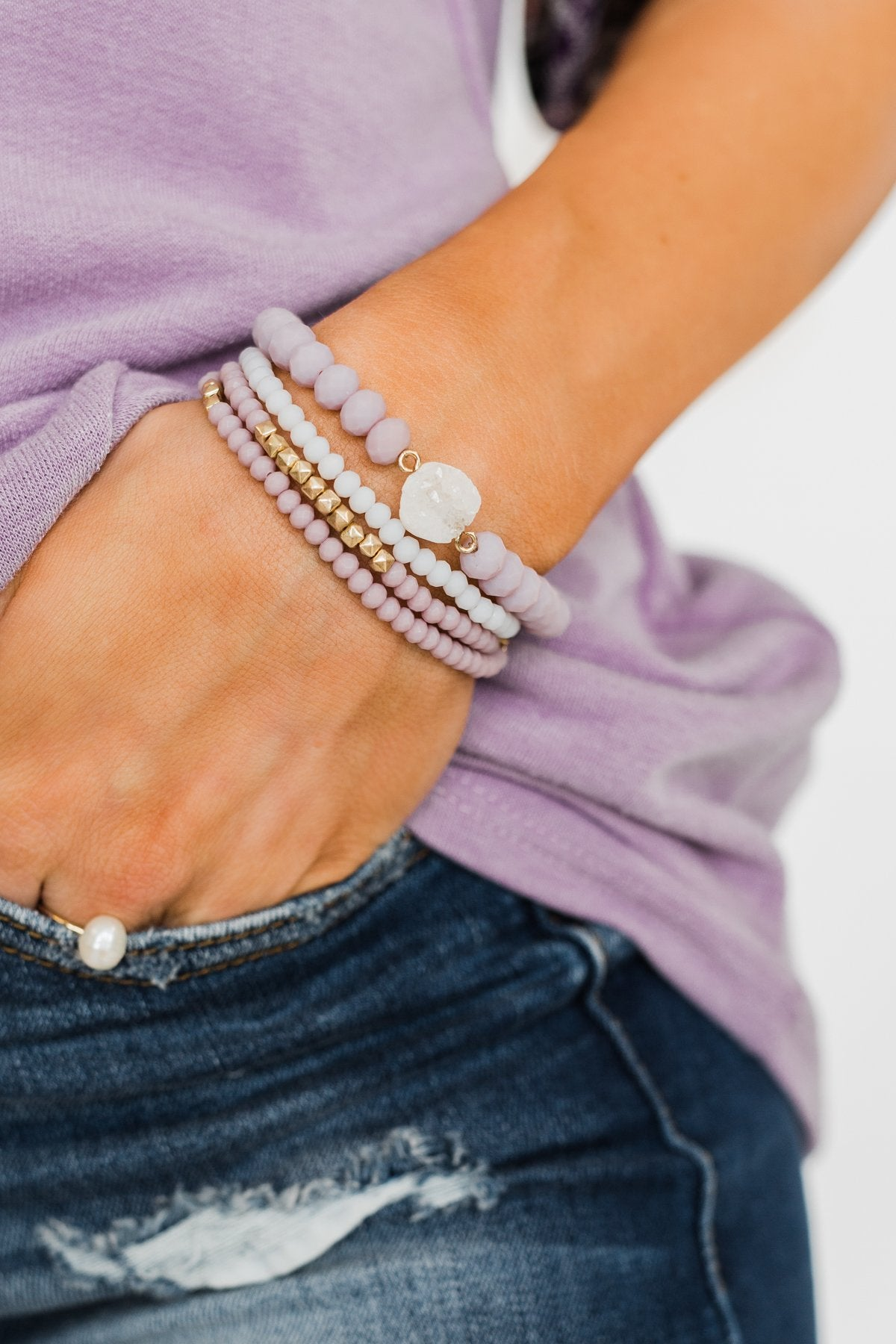 4 Layer Natural Stone Bracelet Set- Lilac
