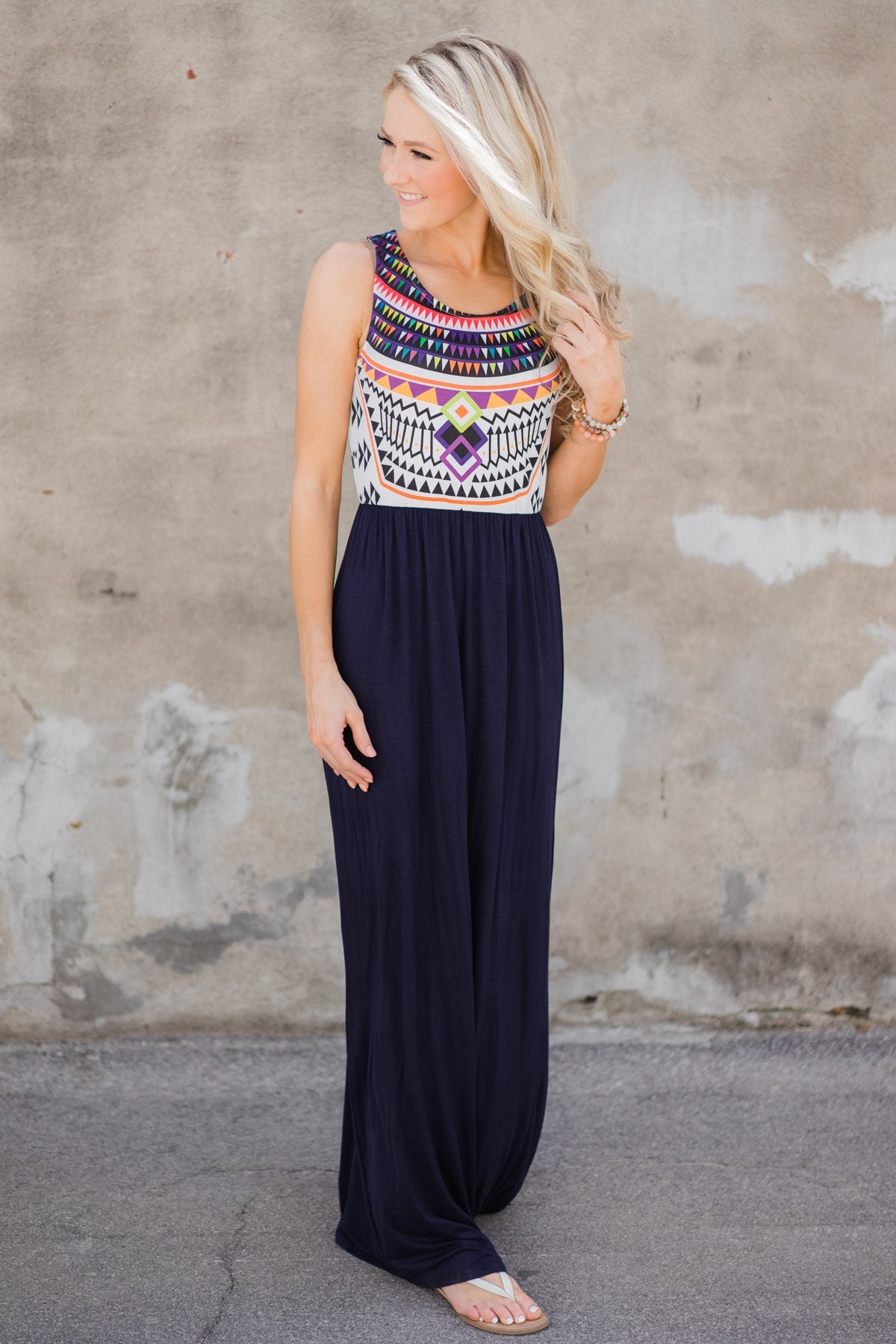 A Night in Paradise Maxi Dress- Navy