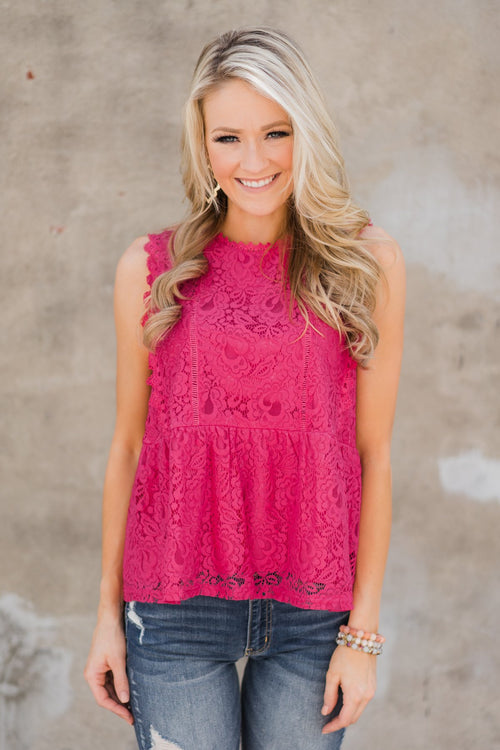 Flirty in Lace Tank Top - Fuchsia