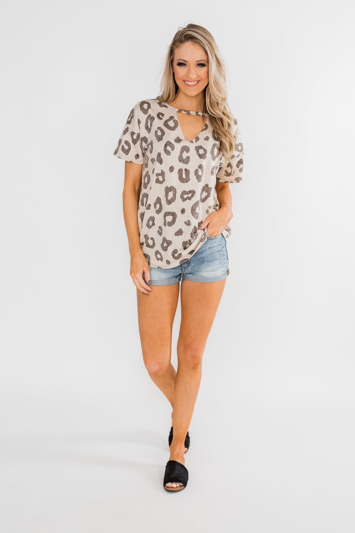 Seeking To Find Mock Neck Leopard Top- Beige