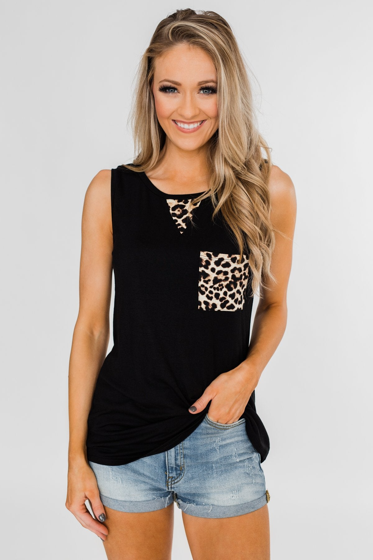 Wild Side Leopard Tank Top- Black