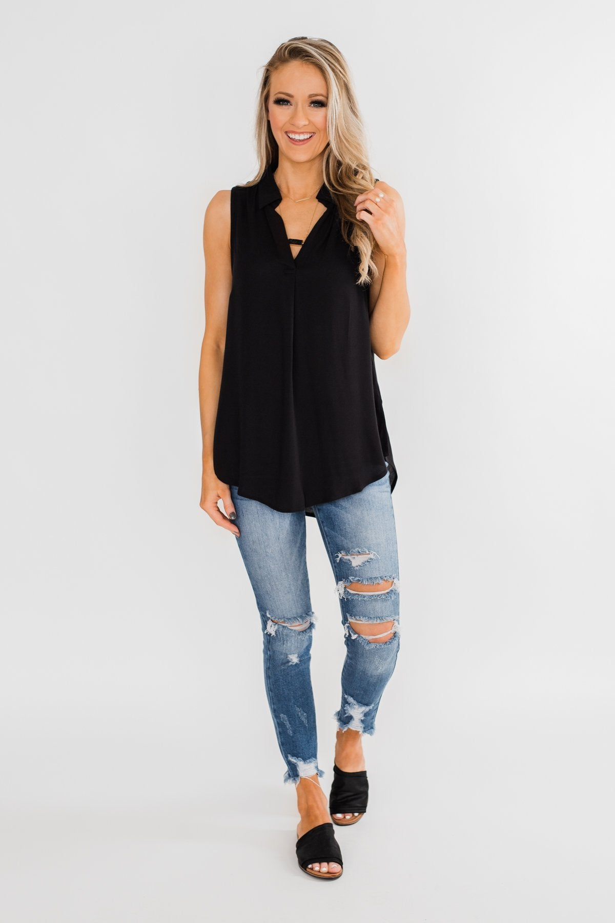 Taking Chances Collar Tank Top- Black