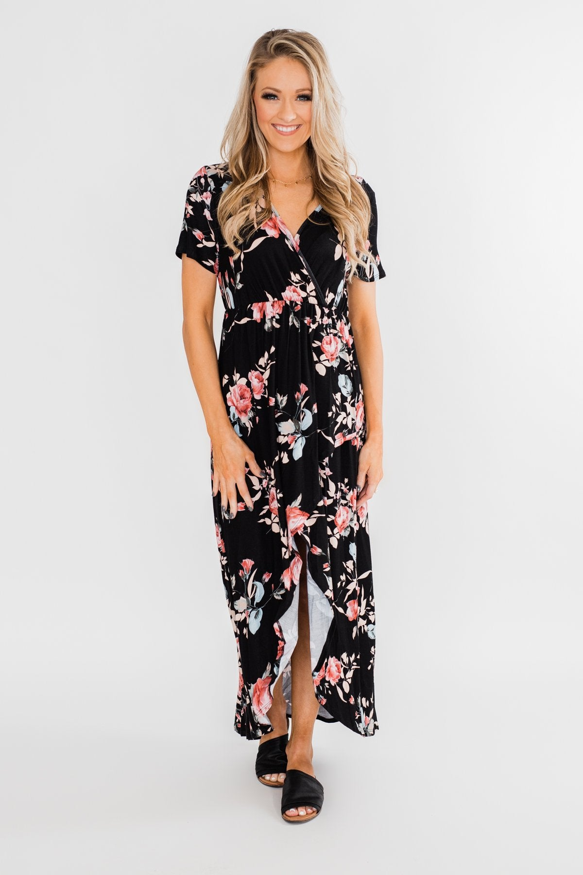 Promise To Keep Hi-Low Floral Maxi Dress- Black