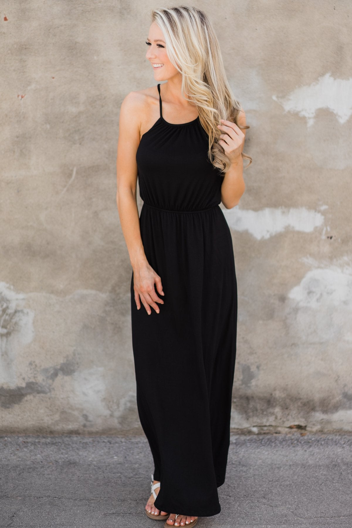 Lovely Back Crochet Detail Maxi Dress- Black