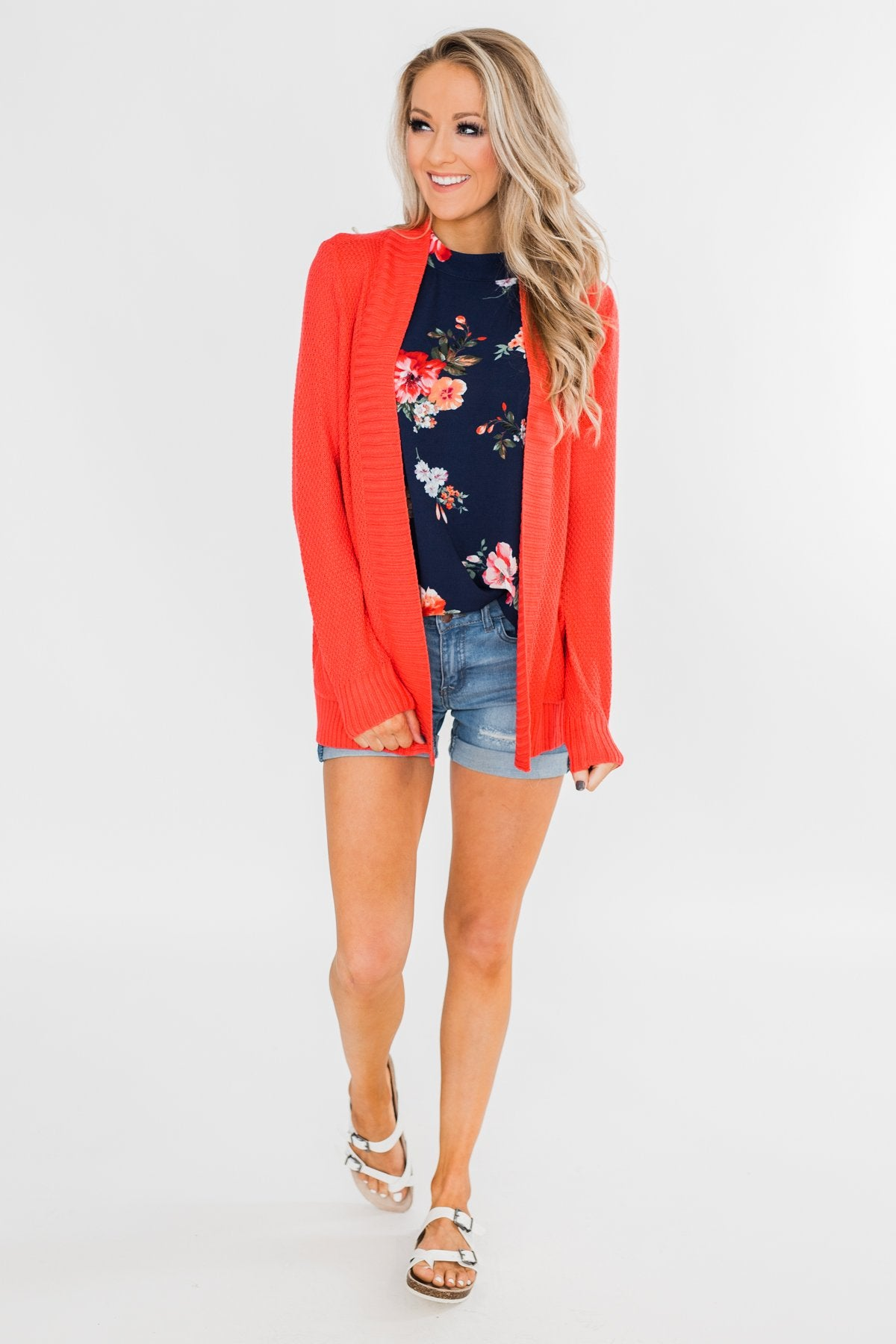 Welcoming To You Knitted Cardigan- Vibrant Coral