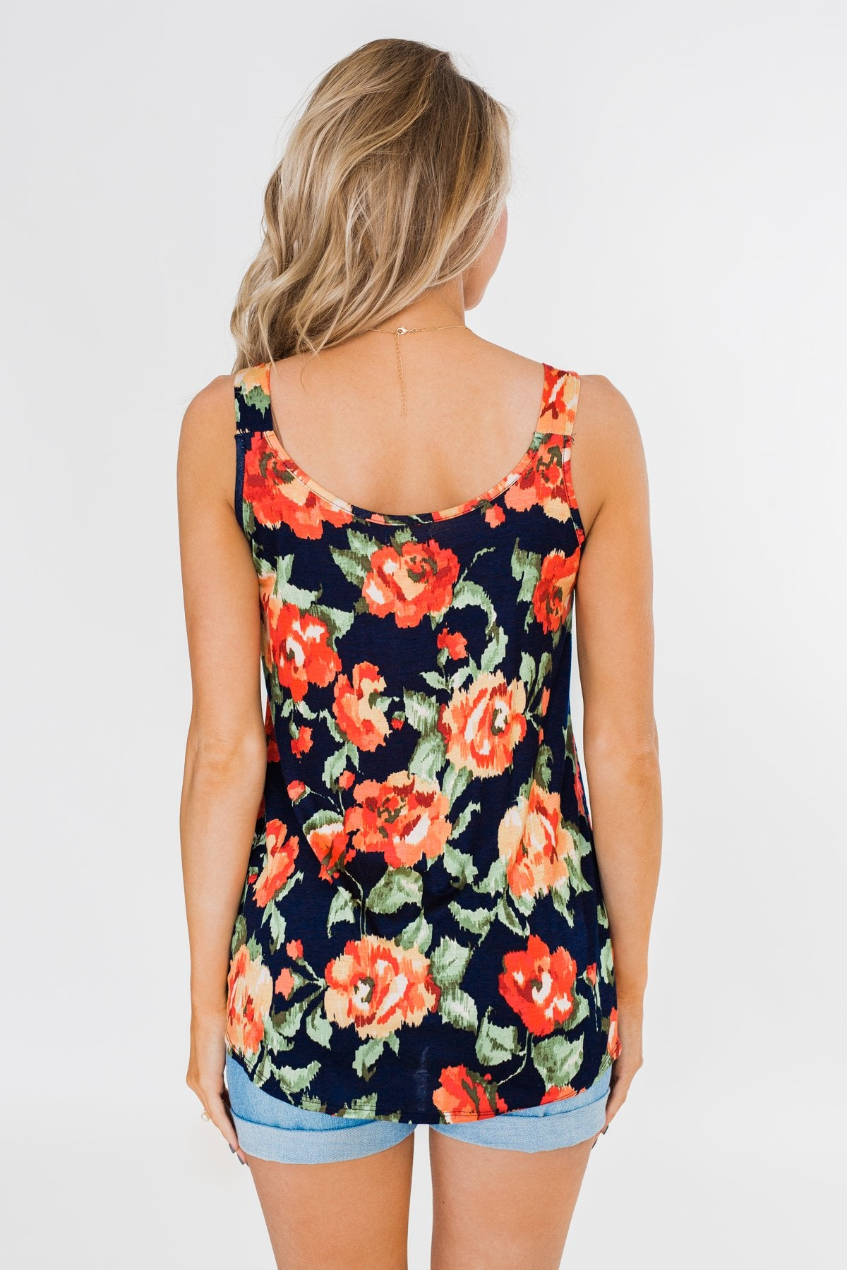 Flirty & Thriving Floral Tank Top- Navy