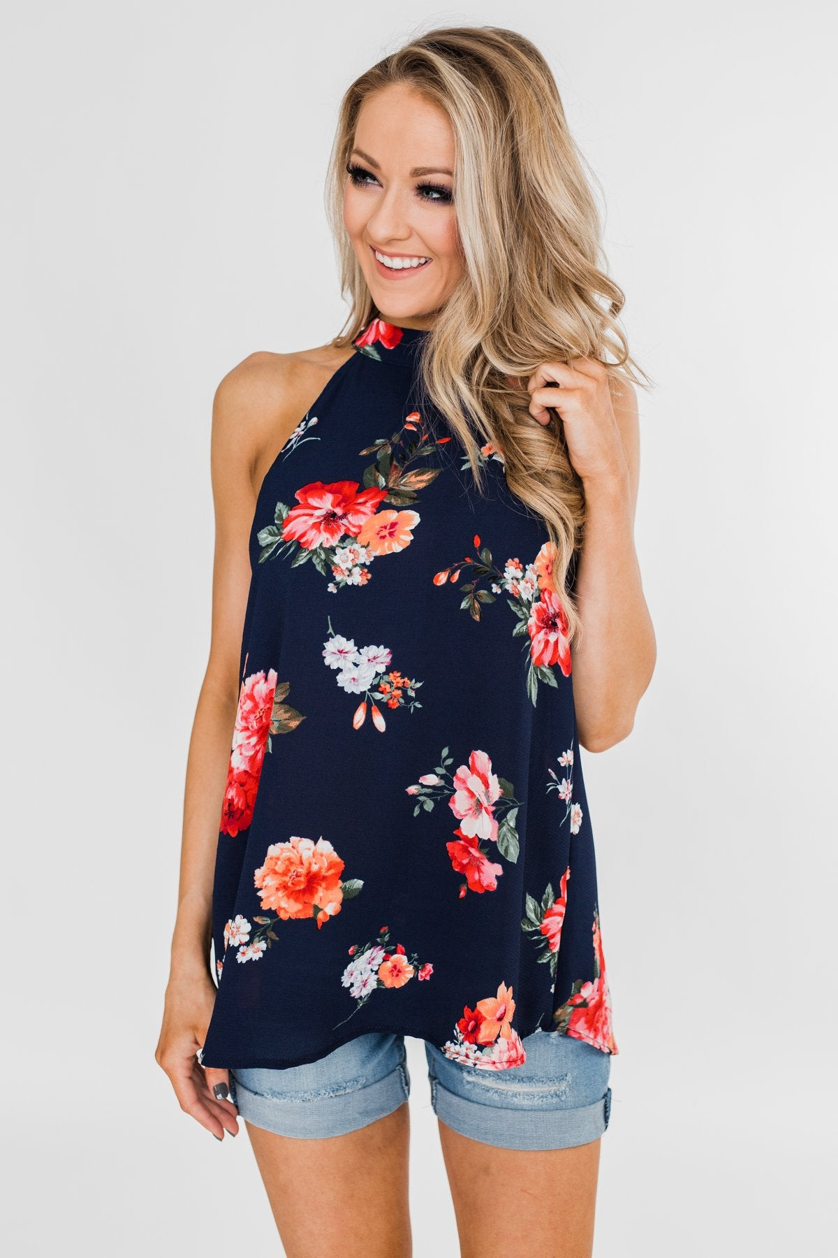 Flourish in Floral Halter Tank Top- Navy
