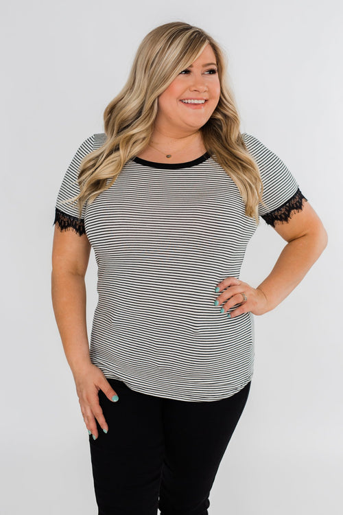All About the Accents Black & White Striped Top