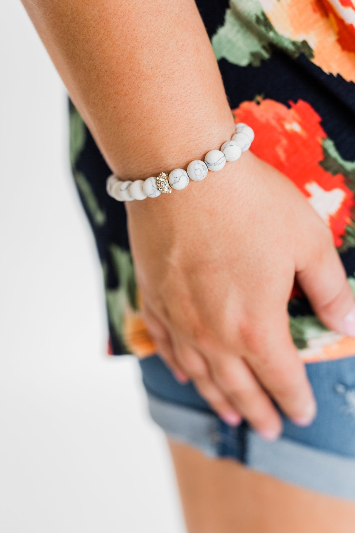 Marble Beaded Glam Bracelet- White