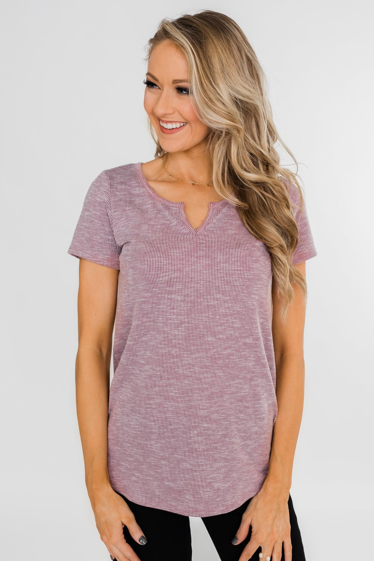 Dusty Purple Notch Top