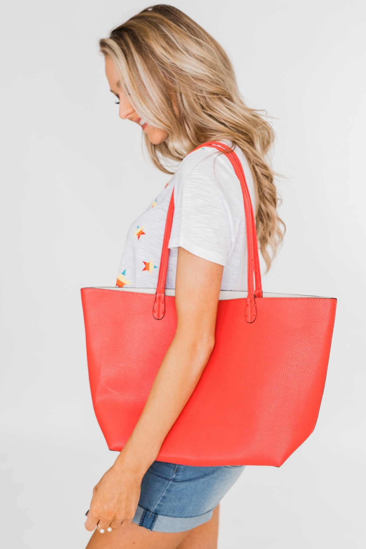Reversible Tote- Vibrant Coral/Ivory