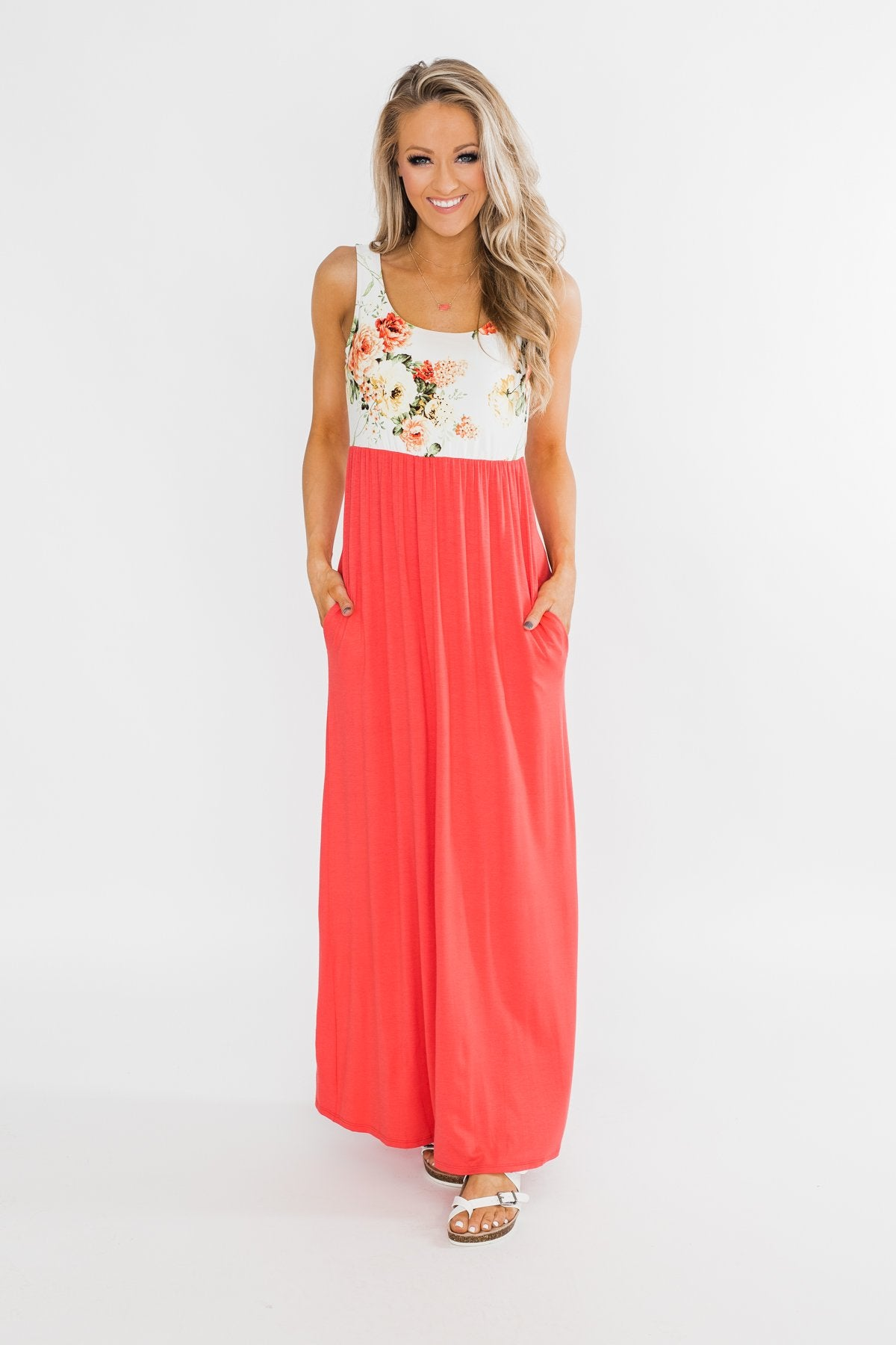 There She Goes Again Floral Maxi Dress- Vibrant Coral