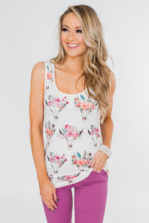 Floral Skull Tank Top- White