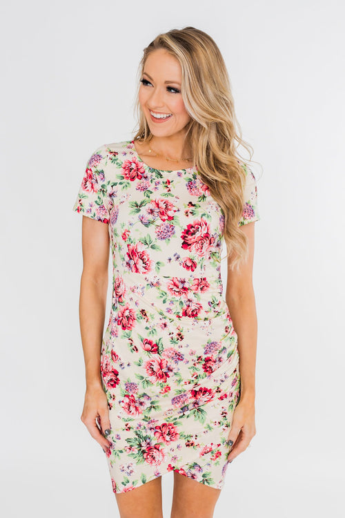 Growing In Love Floral Dress- Ivory