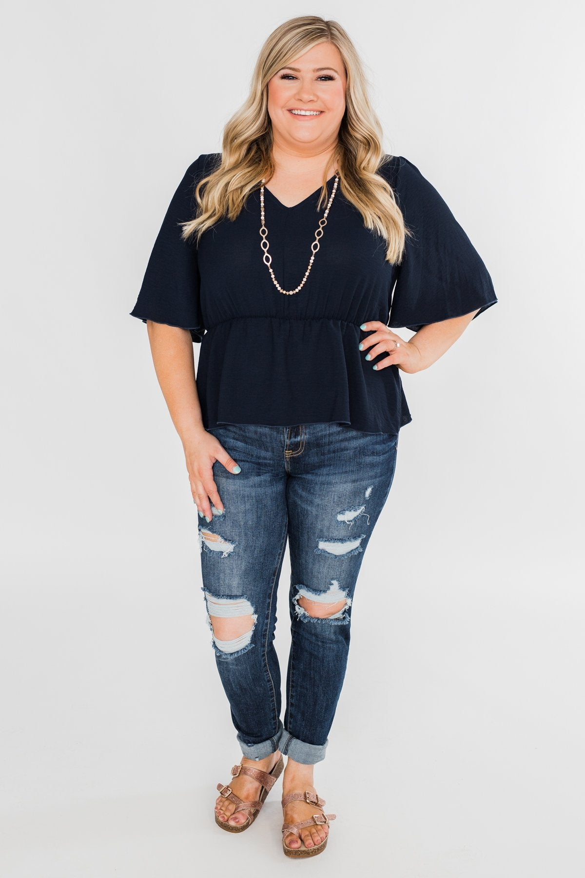 Hold You Tight Cinched Waist Blouse- Navy