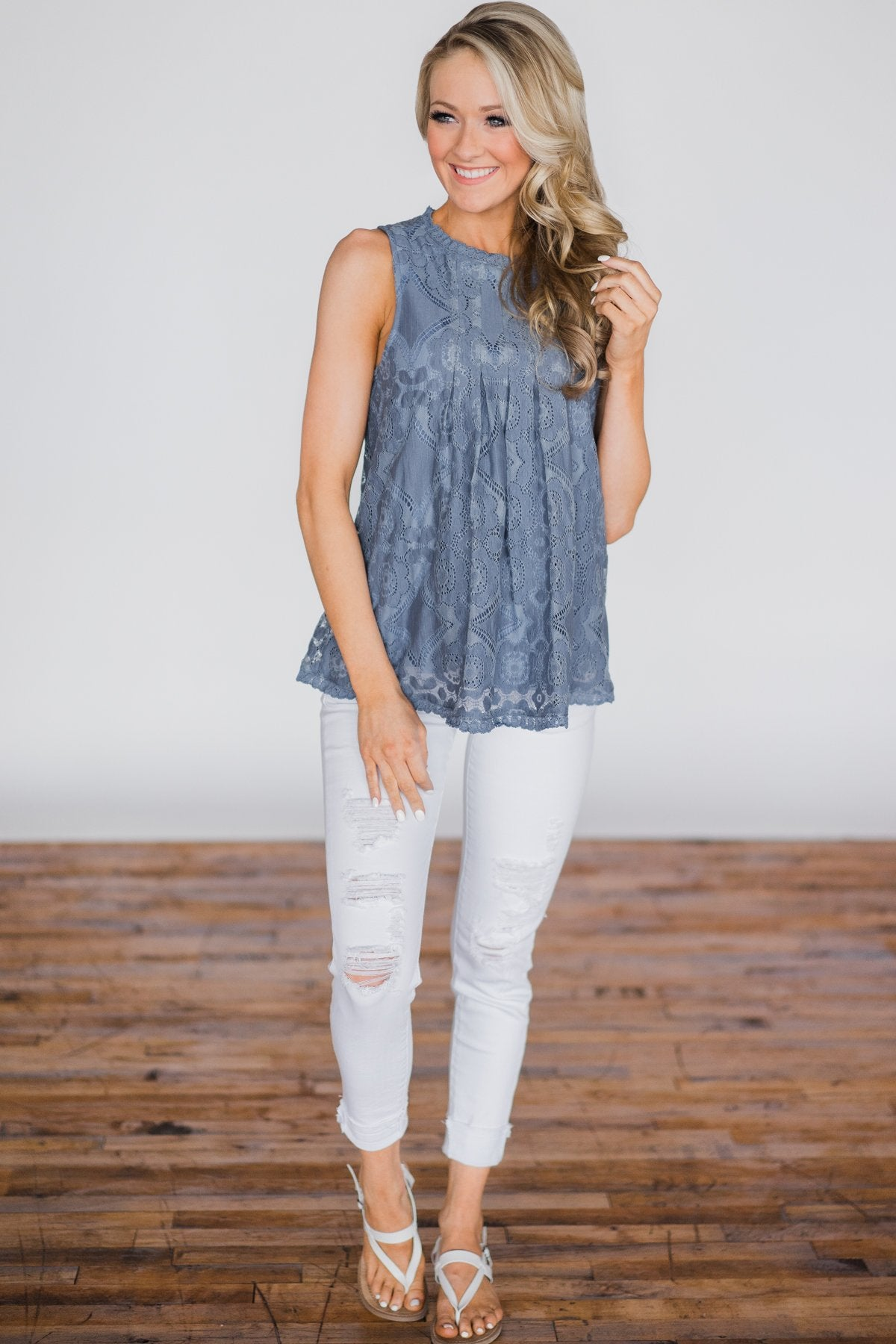 Feelings for You Tank Top - Denim Blue