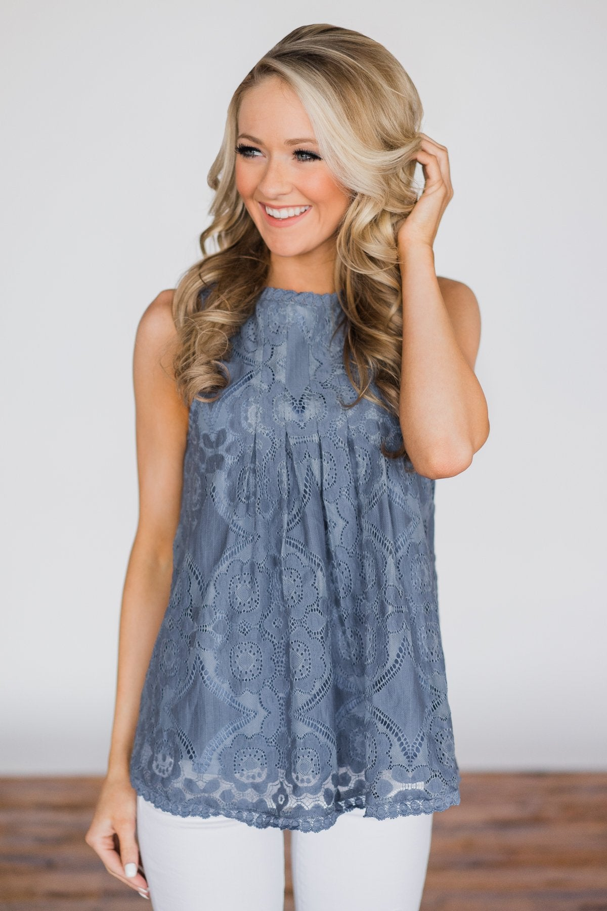 9611c77f46a Feelings for You Tank Top - Denim Blue – The Pulse Boutique