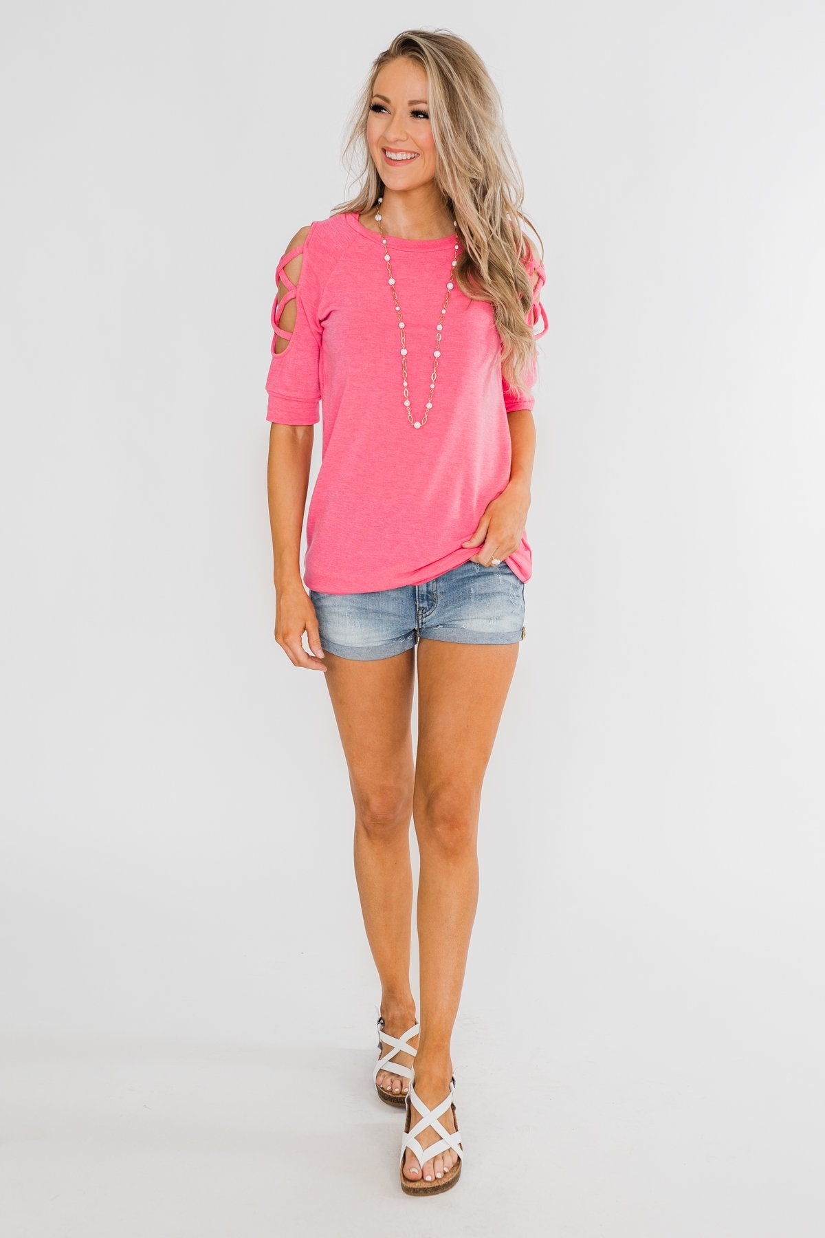 Once Upon A Time Criss Cross Sleeve Top- Ultra Pink