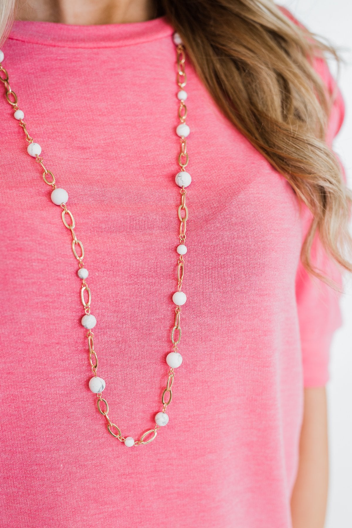 Marble Beaded Chain Necklace- Gold