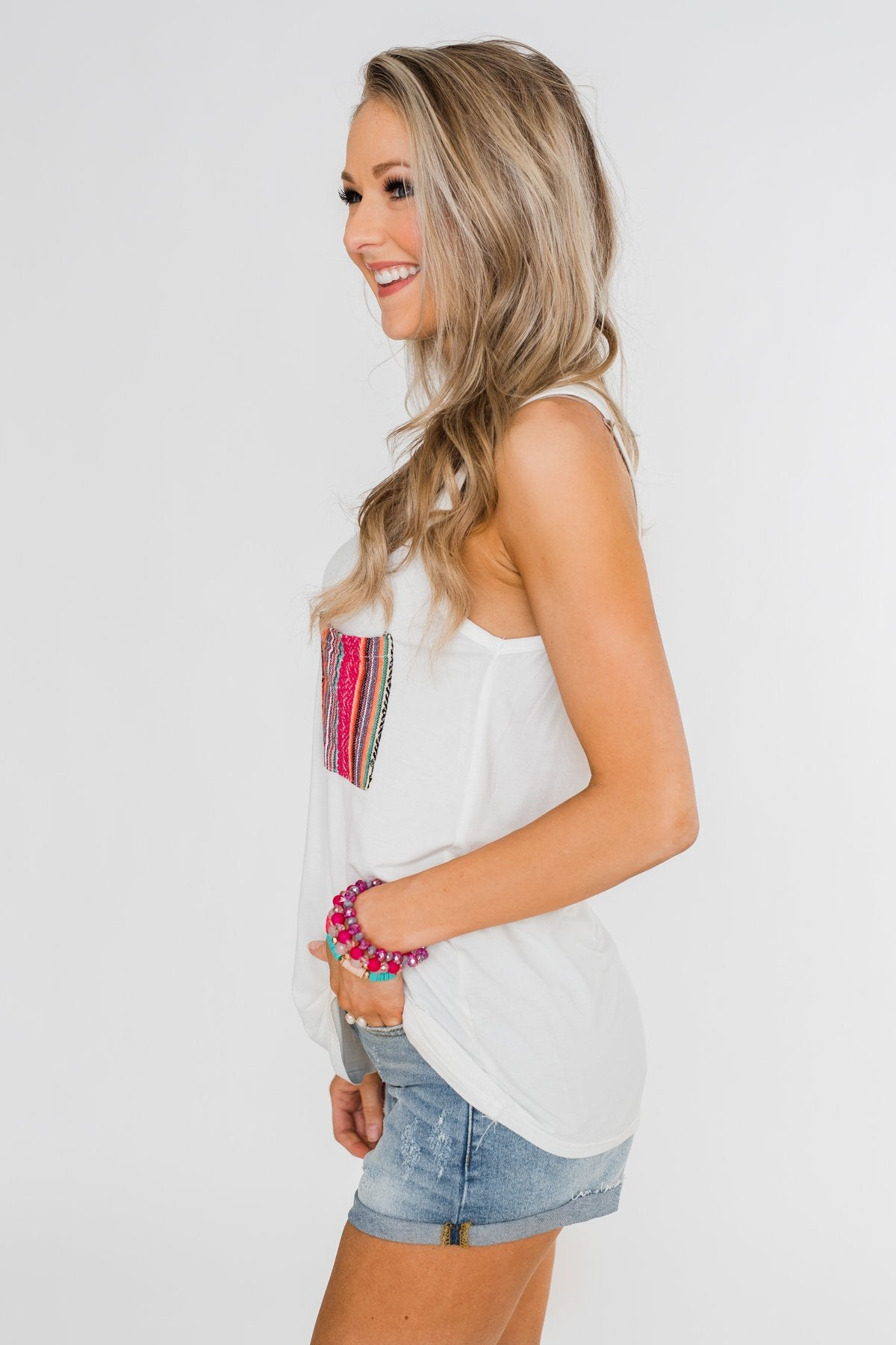 Pocketful of Color Tank Top- Ivory