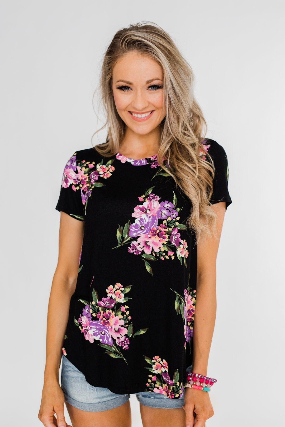 Midnight Blossoms Short Sleeve Floral Top- Black
