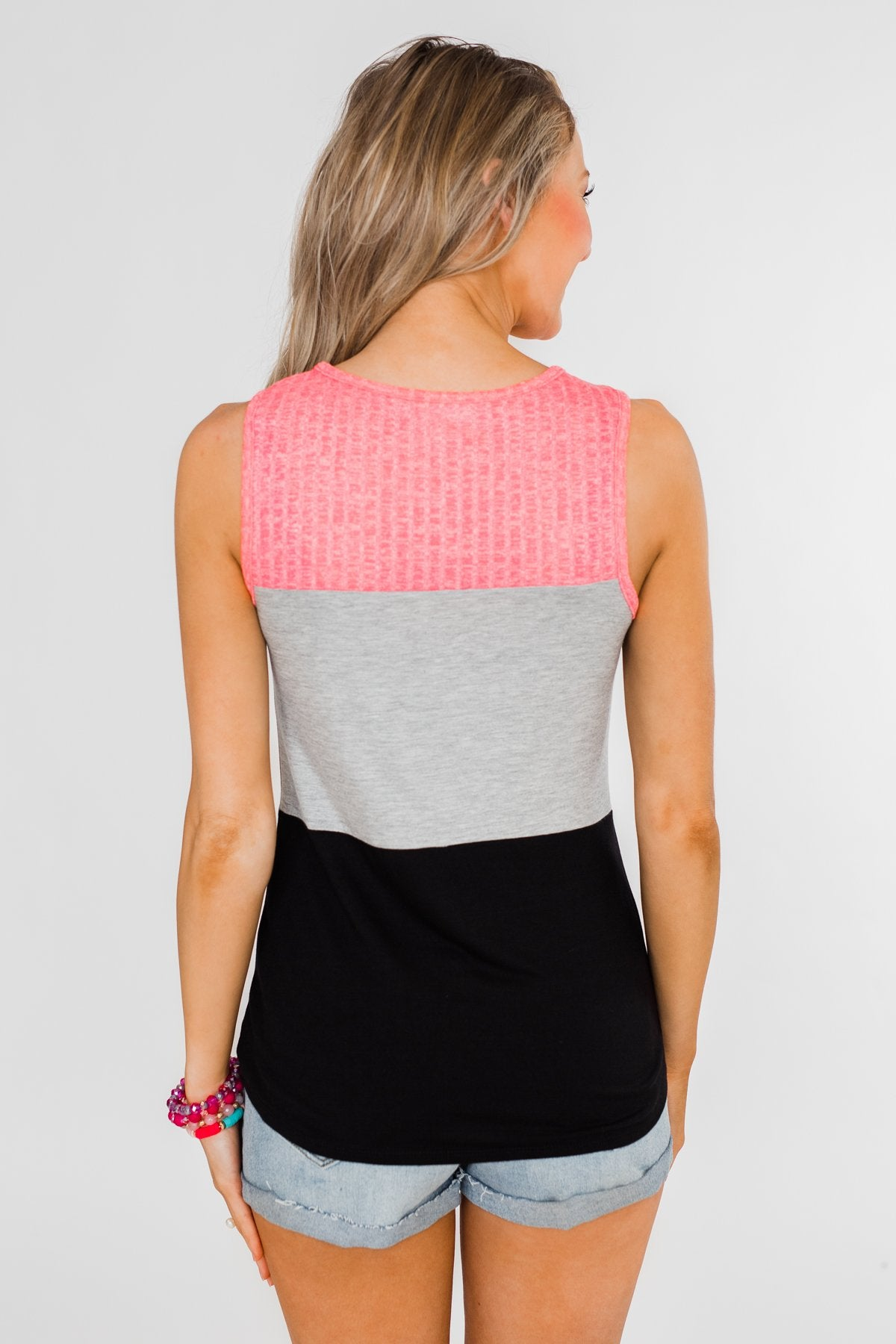 Start Today Color Block Tank Top- Neon Pink