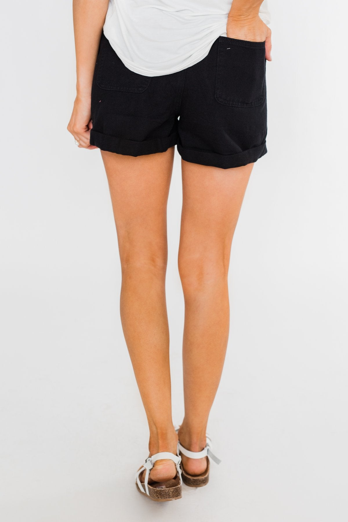 Cinched Waist Shorts- Black