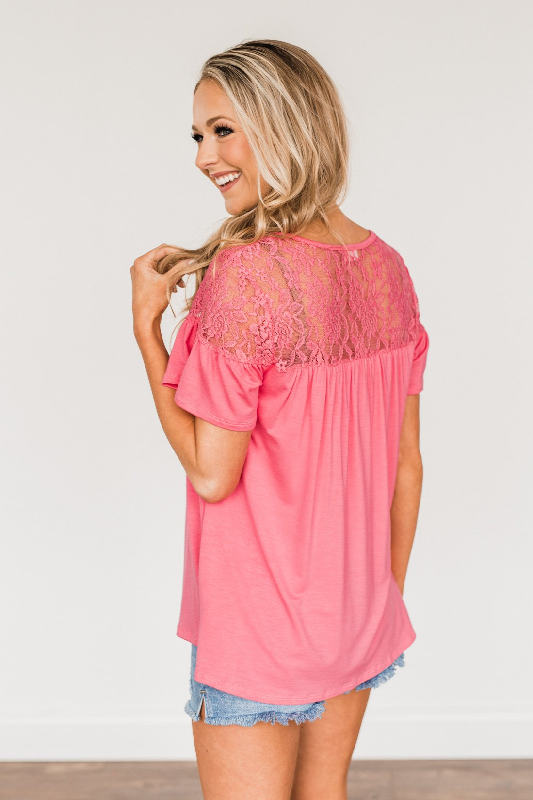 Now & Forever Yours Lace Top- Bubblegum Pink