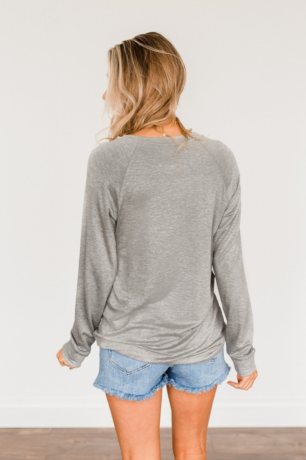 """Midwest"" Long Sleeve Graphic Top- Grey"