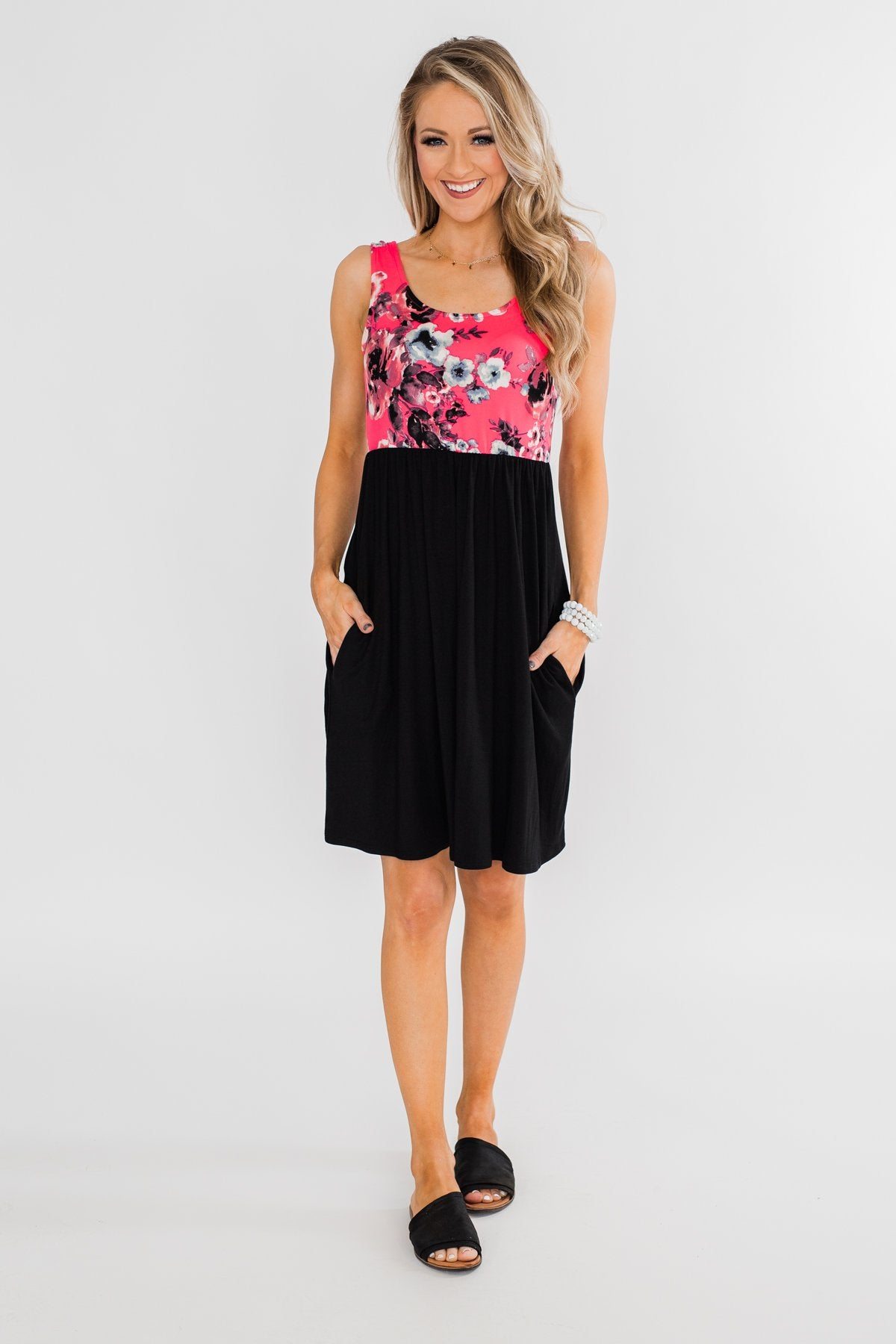 Attracted to You Floral Dress- Neon Pink & Black