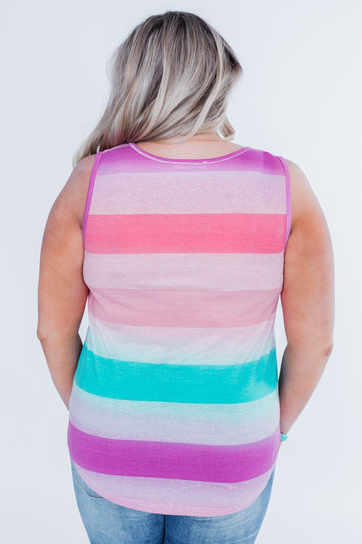 Never Fade Away Striped Tank Top- Pink & Teal Tones