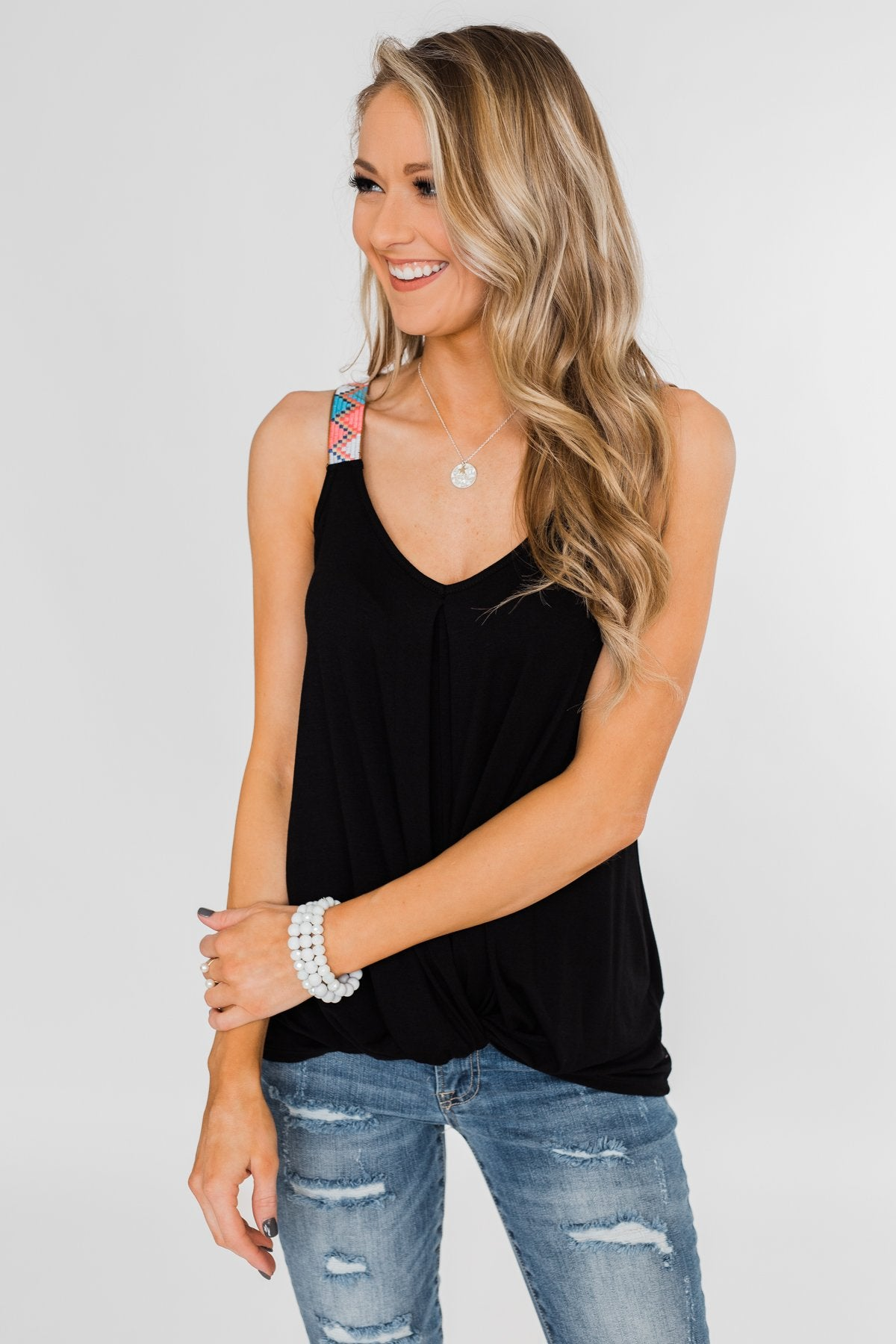 Somewhere Waiting for Me Twist Tank Top- Black